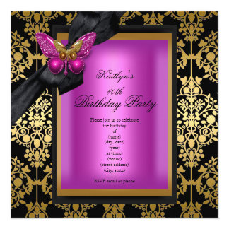 40th Birthday Party Pink Gold Damask Butterfly Card