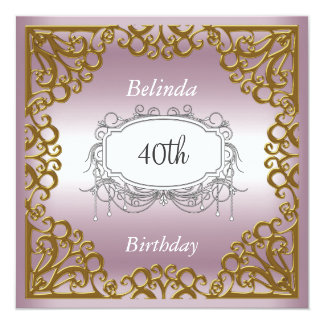 40th Birthday Party Pink Gold Frame Card