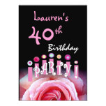 40th Birthday Party Pink Rose and Candles W1167 5x7 Paper Invitation Card