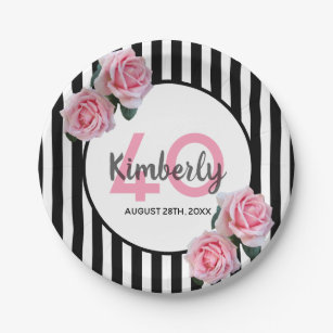 40th birthday party pink roses black white stripes paper plate  sc 1 st  Zazzle & Black And White Stripes Plates | Zazzle
