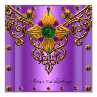 40th Birthday Party Purple Green Gold jewel Card