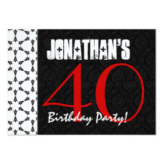 40th Birthday Party Red Black and White Pattern Card