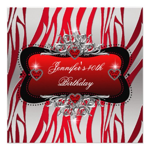 40th Birthday Party Red Silver Zebra Black Personalized Announcement
