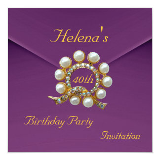 40th Birthday Party Rich Plum Velvet Image Card
