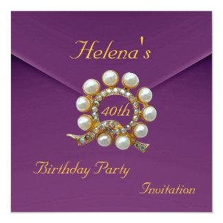 40th Birthday Party Rich Plum Velvet Image 5.25x5.25 Square Paper Invitation Card