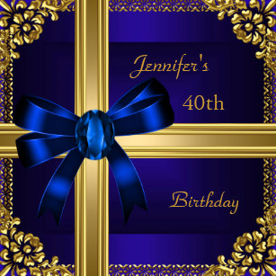 40th Birthday Party Rich Royal Blue Gold Jewel Invitation