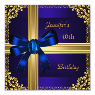 40th Birthday Party Rich Royal Blue Gold Jewel 5.25x5.25 Square Paper Invitation Card