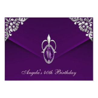 40th Birthday Party Royal Silver Plum Velvet Pearl Card