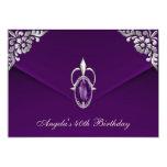 "40th Birthday Party Royal Silver Plum Velvet Pearl 5"" X 7"" Invitation Card"