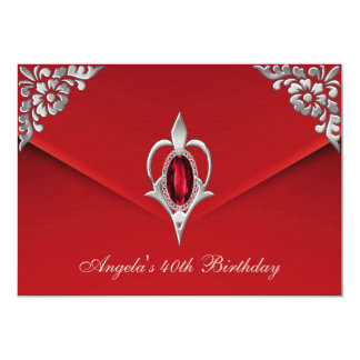 40th Birthday Party Royal Silver Red Velvet Pearl Card