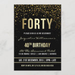 """40th Birthday Party   Shimmering Gold Confetti Invitation<br><div class=""""desc"""">This formal, elegant, trendy, modern fortieth birthday party invitation is suitable for men or women. It comprises golden clean lines, stylish upper case gothic script and sophisticated fixed faux gold foil text on a black background with showers of sparkling, shimmering gold confetti and party streamers. The text has been designed...</div>"""