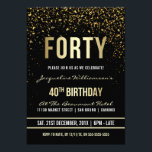 "40th Birthday Party | Shimmering Gold Confetti Invitation<br><div class=""desc"">This formal, elegant, trendy, modern fortieth birthday party invitation is suitable for men or women. It comprises golden clean lines, stylish upper case gothic script and sophisticated fixed faux gold foil text on a black background with showers of sparkling, shimmering gold confetti and party streamers. The text has been designed...</div>"