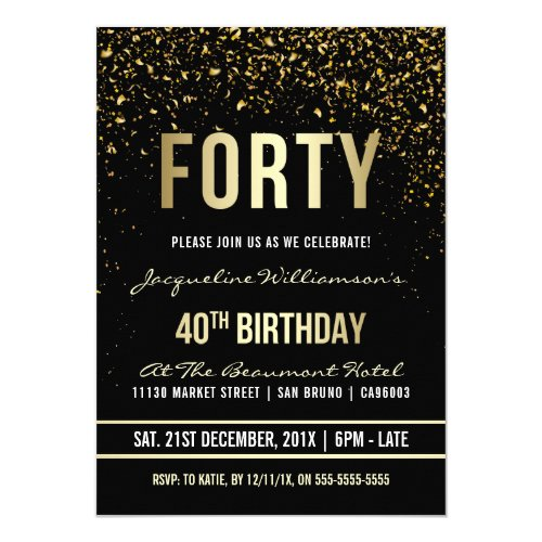40th Birthday Party  Shimmering Gold Confetti Invitation