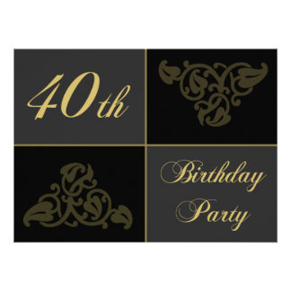 40th Birthday Party Supplies Custom Invitations