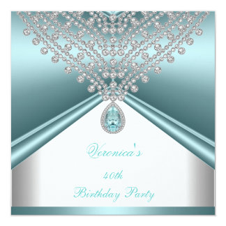 40th Birthday Party Teal Blue White Diamonds Card