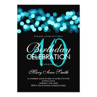 40th Birthday Party Turquoise Hollywood Glam Card