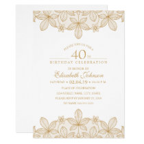 40th Birthday Party Unique Golden Lace Card