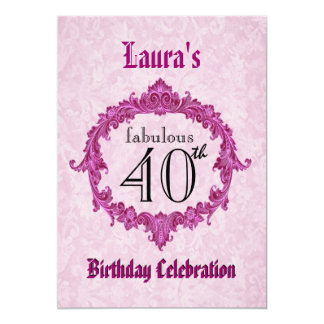 40th Birthday Party Vintage Pink Frame S313 Card