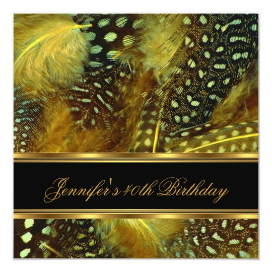 40th Birthday Party Wild Feather Silver Black Gold Card