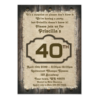 40th,Birthday Party Woman, any age,wood,rustic 2 Card
