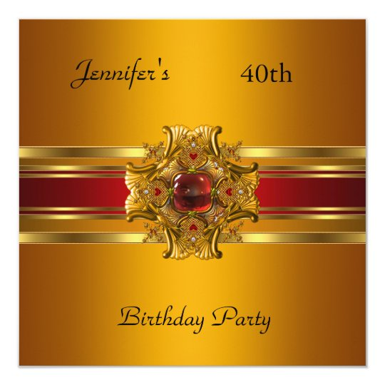 40th Birthday Party Yellow Gold Red Jewel Card