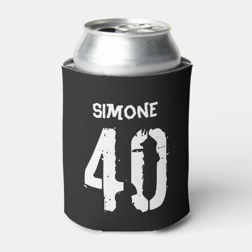 40th Birthday Personalized Black White Gag Gift Can Cooler