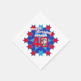 40th birthday photo and name red star napkins