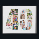 """40th Birthday Photo Collage Number 40 Custom Faux Canvas Print<br><div class=""""desc"""">Create your own personalized photo gift for a 40th Birthday. This neat photo collage is in the shape of the number 40 on a white background with charcoal grey borders. The collage can hold 15 photos and the template is set up ready for you to add your favorite photos working...</div>"""