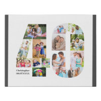 40th Birthday Photo Collage Number 40 Custom Faux Canvas Print
