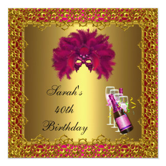 40th Birthday Pink Mask Champagne Gold Lace Invitation