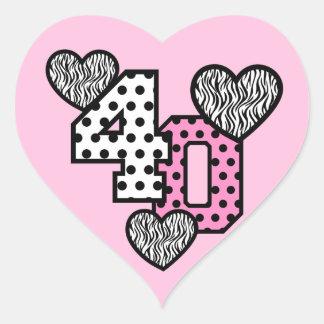 40th Birthday PINK POLKA DOTS and ZEBRA HEARTS V01 Heart Sticker