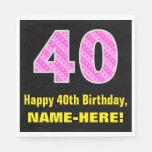 "[ Thumbnail: 40th Birthday: Pink Stripes and Hearts ""40"" + Name Napkins ]"