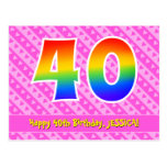 [ Thumbnail: 40th Birthday: Pink Stripes & Hearts, Rainbow 40 Postcard ]