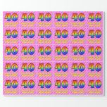 [ Thumbnail: 40th Birthday: Pink Stripes & Hearts, Rainbow # 40 Wrapping Paper ]