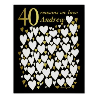 40th Birthday Poster - 40 Reasons We Love You