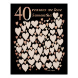 40th Birthday Poster - 40 Reasons We Love You Gift