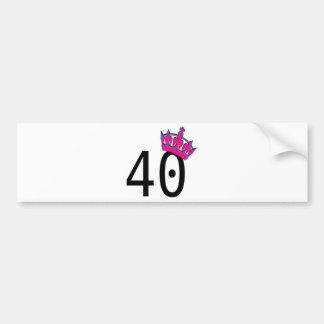 40TH Birthday Princess Bumper Sticker