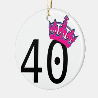 40TH Birthday Princess Ceramic Ornament