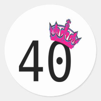 40TH Birthday Princess Classic Round Sticker