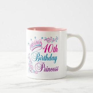 40th Birthday Princess Two-Tone Coffee Mug
