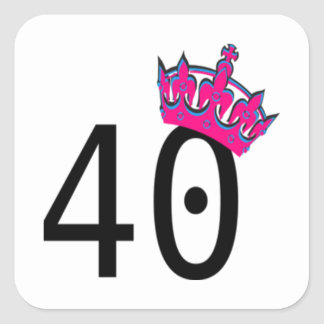 40TH Birthday Princess Square Sticker