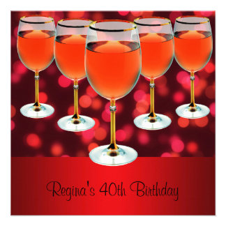 40th Birthday Red Wine Glass Personalized Invites