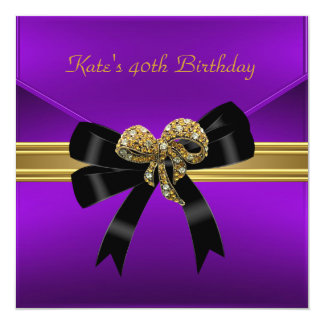 40th Birthday Rich Royal Black Purple Gold Jewel Card