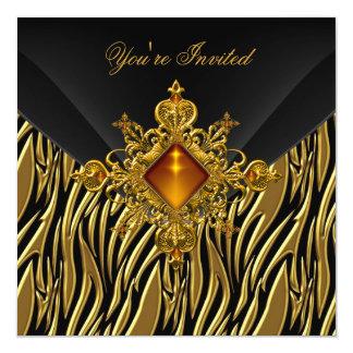 40th Birthday Rich Zebra Gold Amber Jewel Black 5.25x5.25 Square Paper Invitation Card