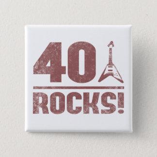 40th Birthday Rocks Pinback Button