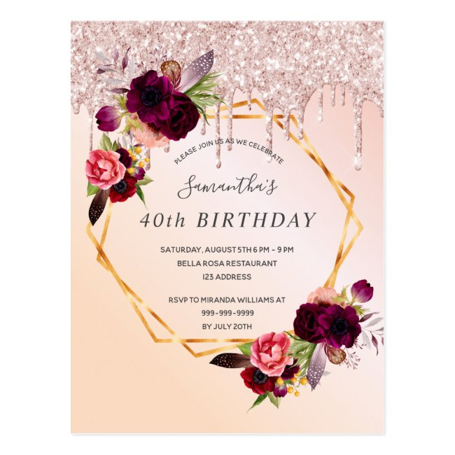 40th Birthday rose gold glitter florals invitation Postcard