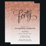 """40th Birthday Rose Gold Ombre Glitter Invitation<br><div class=""""desc"""">This trendy rose gold ombre glitter birthday party invitation features faux rose gold sparkly glitter and a bold typography heading.  Add your custom text using the template form.  Additional options for text and layout are available if you choose to customize further.</div>"""