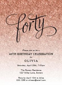40th birthday invitations zazzle