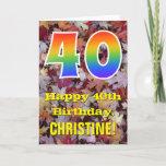 "[ Thumbnail: 40th Birthday; Rustic Autumn Leaves; Rainbow ""40"" Card ]"