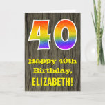 "[ Thumbnail: 40th Birthday: Rustic Faux Wood Look, Rainbow ""40"" Card ]"